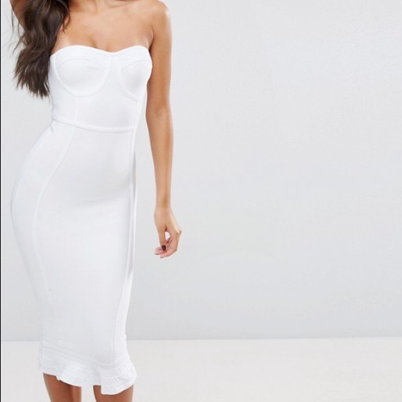 White Lace Piped Detail Frill Hem Midi Dress Pretty Little Thing 7FEF6S6